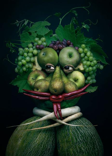 portraits made of fruits and vegetables