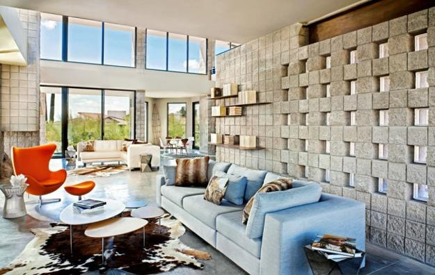 Glass blocks adding sparkling accents to modern home designs - Glass block windows in living room ...