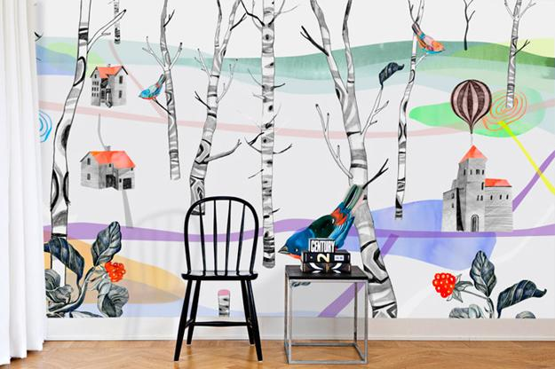 Bright Wall Decoration For Teenage Bedroom Trees And Birds In Calm Colors
