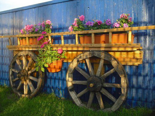 Reclaimed Wagon Wheels And Summer Flowers, Colorful Wall Decoration