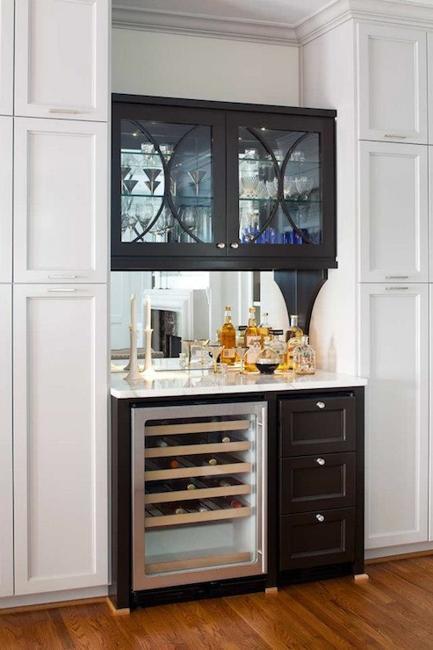 Small home bar ideas maximizing wall niche space - Built in home bar ...
