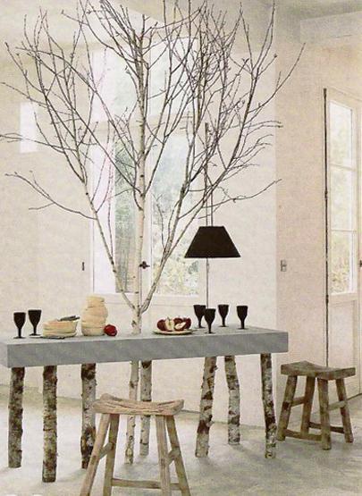 Birch Tree Table And Stools, Unique Furniture Design