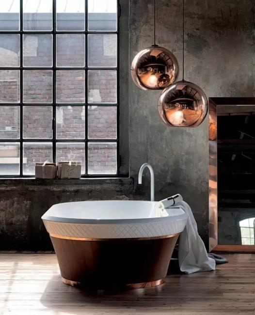 modern lights and copper colors in interiors