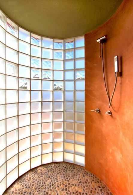 Custom Glass Block Shower Designs Add Beautiful Curves To