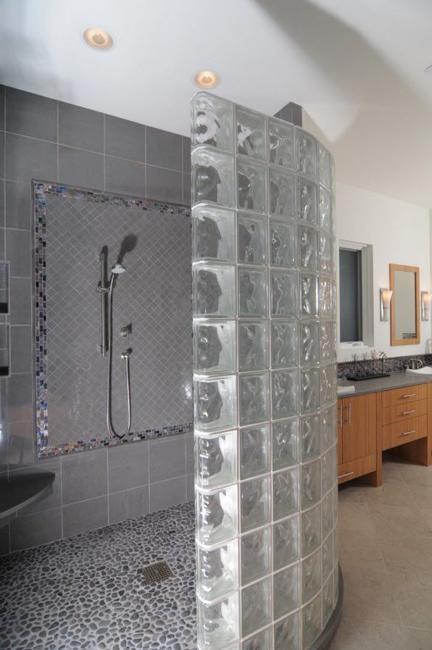 Custom Glass Block Shower Designs Add Beautiful Curves To