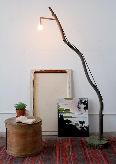 Exposed bulb and tree branch modern lighting design . & DIY Branch Lighting Ideas Adding Rustic Eco Accents to Modern ...