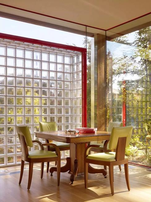 Beautiful Dining Room Design, Glass Block Window Screen