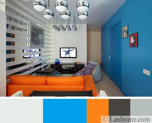 White And Gray Color Tones Vibrant Blue Accent Wall Living Room Sofa In Orange
