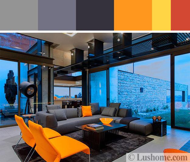 Black And White Decorating Colors Orange Accents Living Room Furniture In Gray