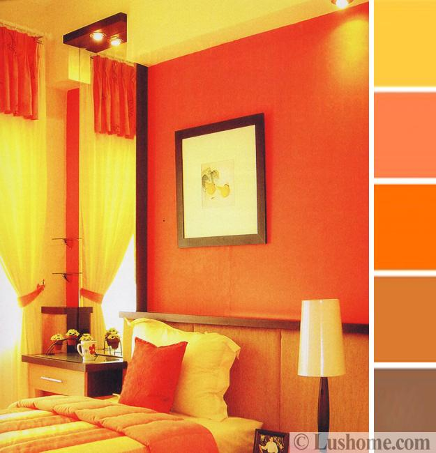 Merveilleux Living Room Design In Warm Colors, Orange Peach And Yellow Walls