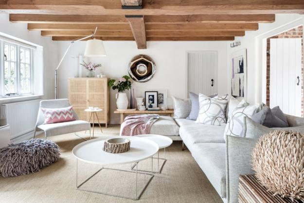 Country Home Decorating In White With Pink Accents