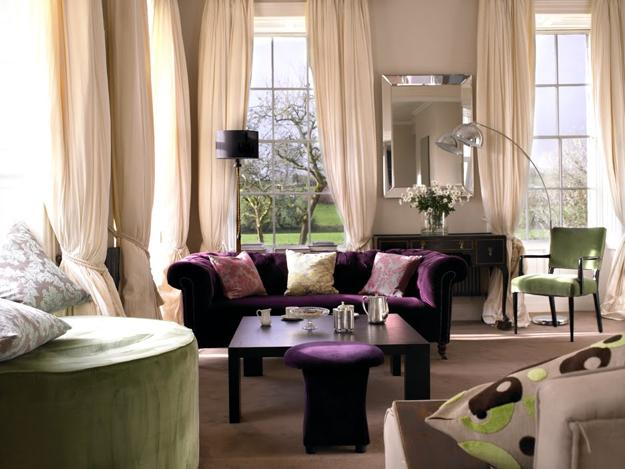 Pink purple and green color schemes 20 modern interior - Purple and black living room ideas ...