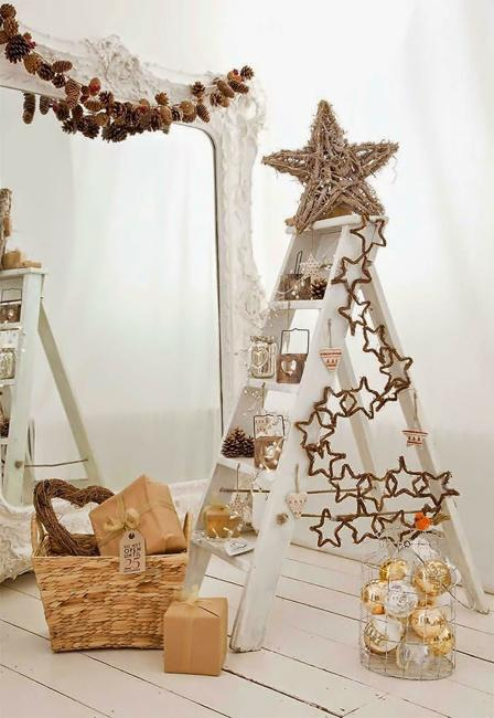 creative and green holiday decor alternative christmas tree in golden colors - Christmas Ladder Decor