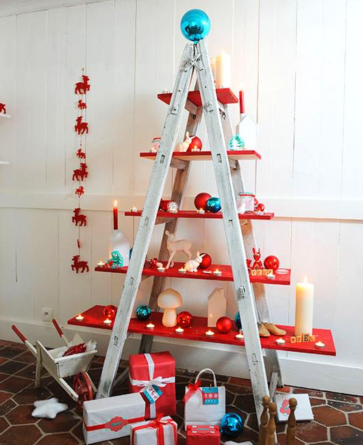alternative christmas tree designs turning step ladders into fun holiday decorations - Christmas Tree Ladder Decoration