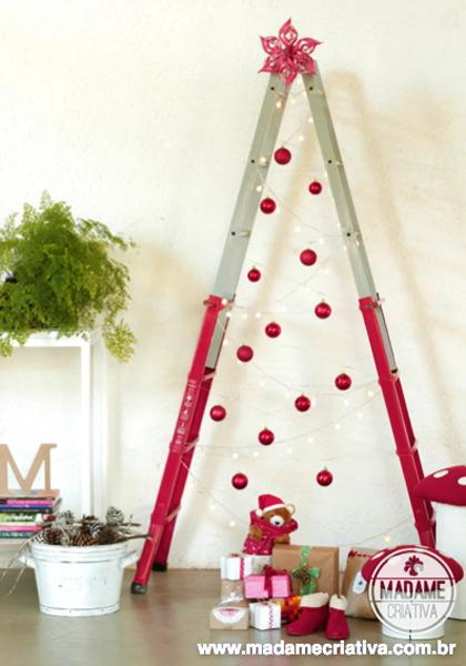 painted white and red wooden ladder with red christmas balls