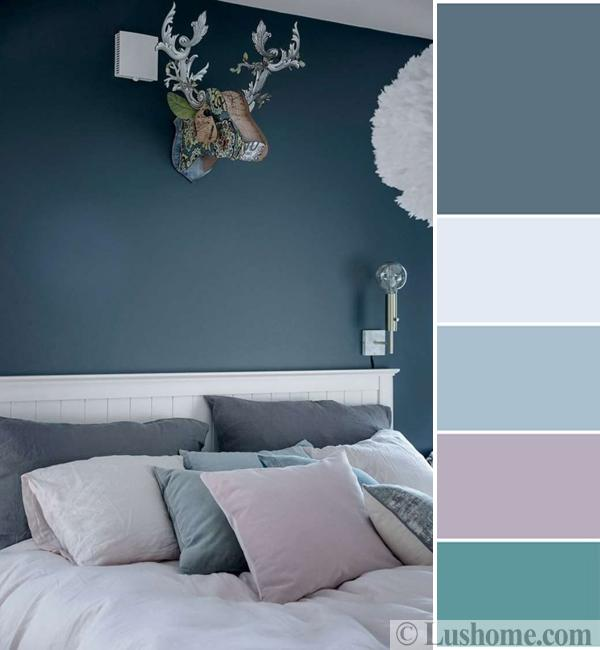 Bedroom color scheme with bluish gray, turquoise, and pink purple pastels