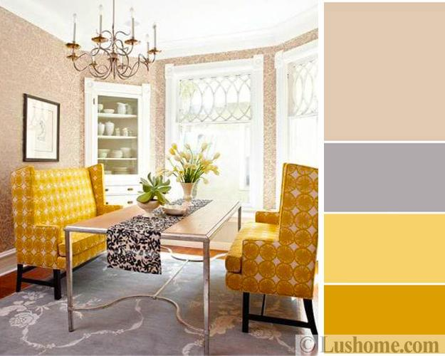 Beige Gray Yellow Color Scheme Modern Dining Room Decorating