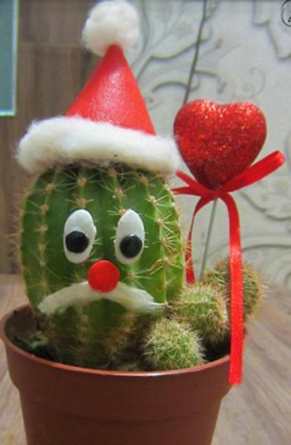 alternative holiday decorations cactus with red heart and santa hat
