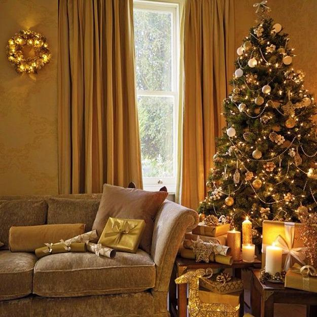 Christmas Tree Colour Schemes 2014: 22 Golden Christmas Ideas, Top Color Trends In Decorating