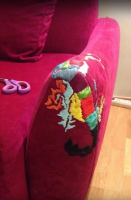 handmade embroidery on sofa armrest