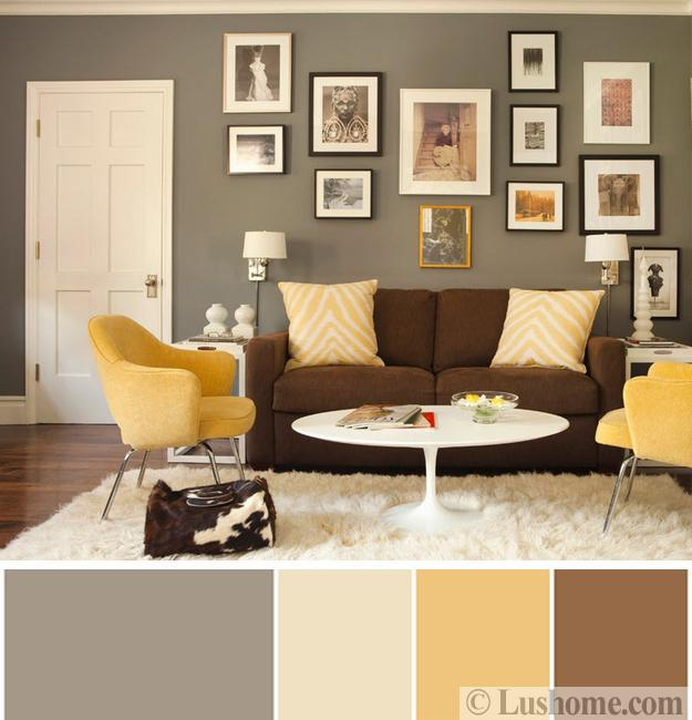 Cream Yellow Brown Color Scheme Living Room Decorating