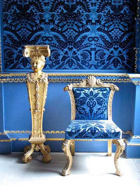 blue velvet upholstery fabric and wall decoration