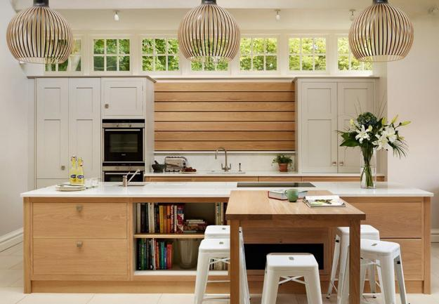 Charmant Painted Green Color Wooden Wall Design, Modern Kitchen