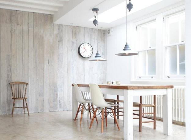 Bleached Wood Floor And Walls, White Kitchen Furniture