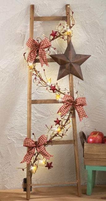 decorating with branches - Christmas Ladder Decor