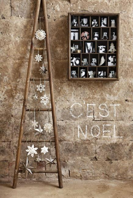 Wooden Box Advent Calendar And Ladder Christmas Tree With Snowflakes