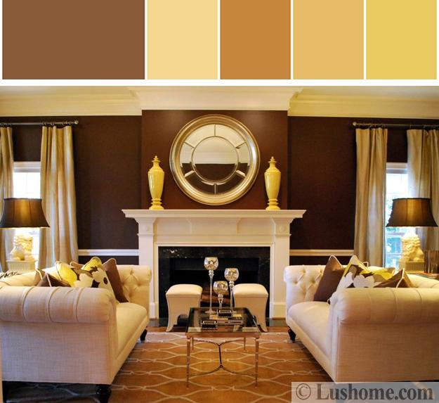 Brown Yellow Color Schemes For Room Decorating