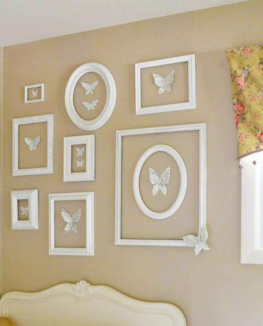 white painted frames on beige wall