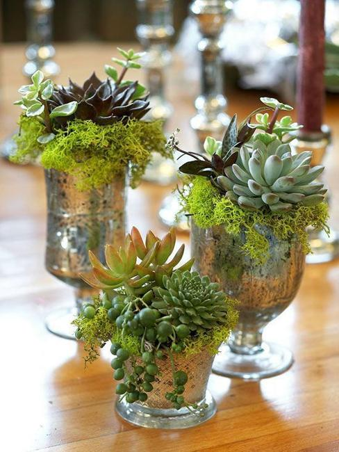 recycling glasses for green table centerpieces