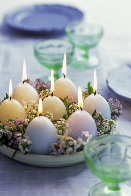 table centerpiece with egg candles