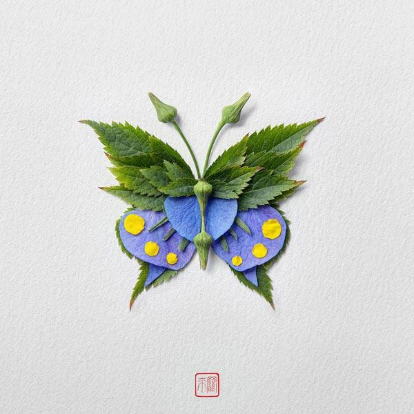Colorful Butterflies Designed With Fresh Flower Petals And