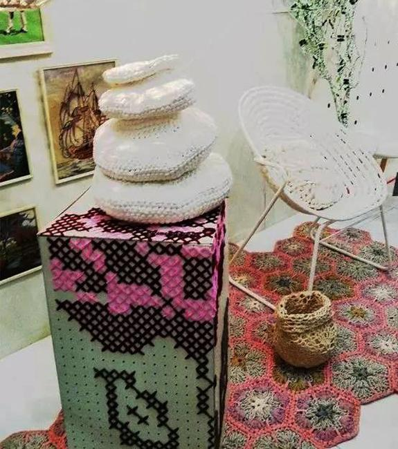 furniture decoration with handmade embroidery