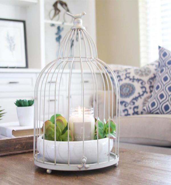 bird cage with plants and candle