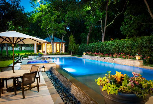 Negative edge pool designs and spillover waterfalls for Pool design tips