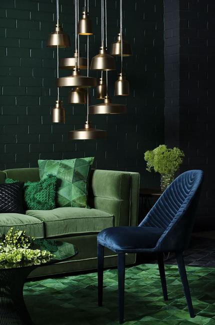 dark wall green furniture bronze lights