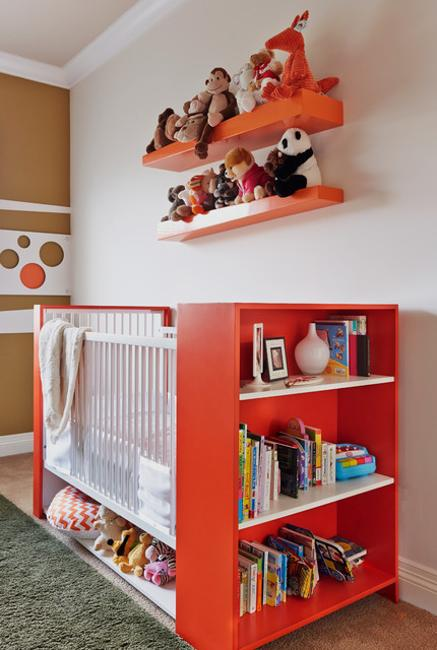 children bed with shelves