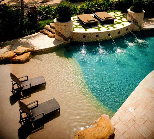 Home Design Ideas For Small Spaces: Beach Style Pool Designs Creating A Lake Effect In Modern