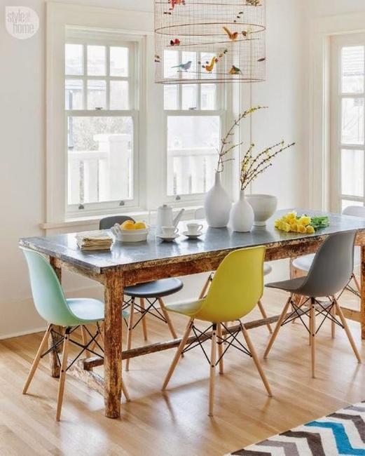 How To Mix And Match Dining Chairs And Use Colors In Dining Room Decorating