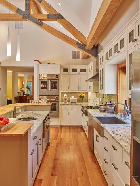 modern kitchen colors  beige and natural wood shades