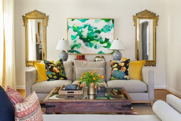 living room furniture and colorful accents