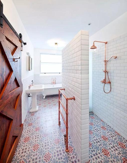 Modern Floor Tiles, Intricate Patterns, Bathroom Design