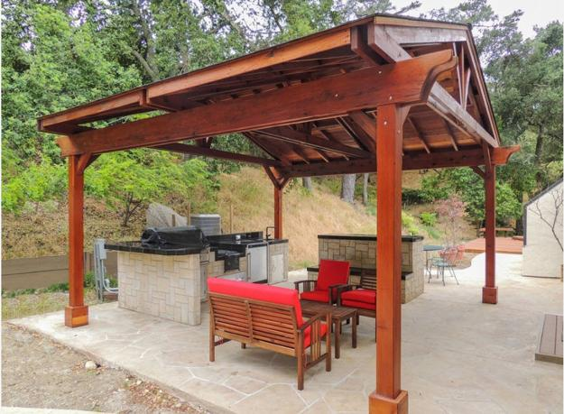 Modern Outdoor Kitchen Designs With Beautiful Dining Areas Under Roofs