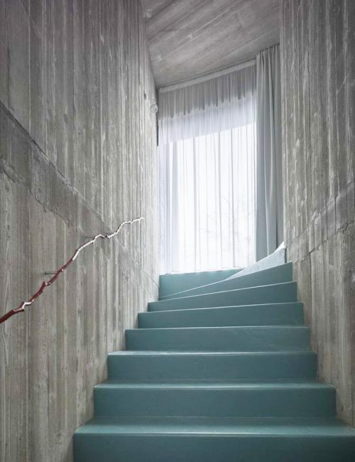 staircase concrete walls