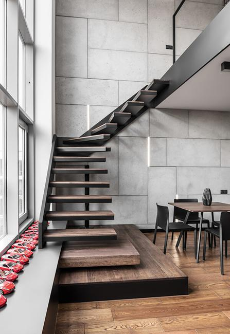 wood staircase in loft apartment