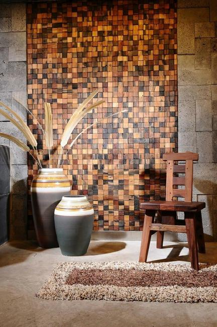 wood tiles, wall design