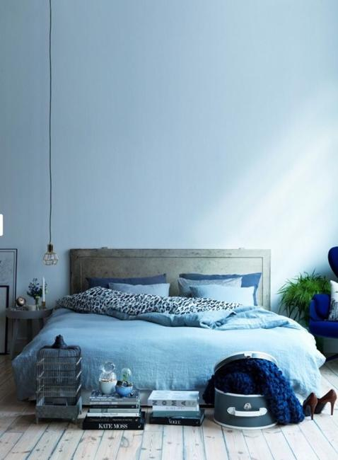 blue wall paint bedding decor accessories